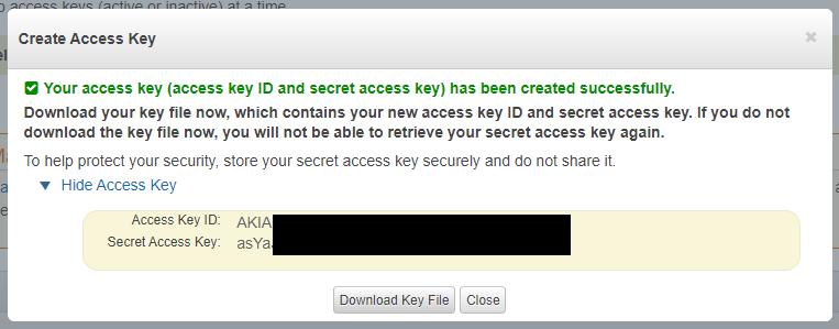 Access key ID - Secret Access Key created