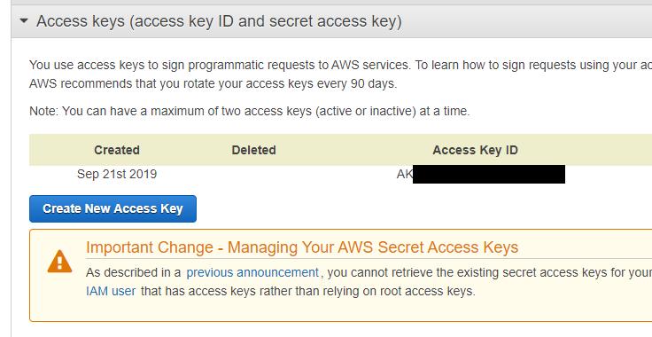 create Access key ID - Secret Access Key pair